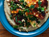 Haloumi with baba ganoush and pomegranate dressing recipe