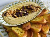 Hummus with Olives, Pine Nuts and Olive Oil Crostini Recipe