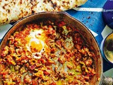 Lamb mince menemen (Turkish-style eggs with tomato, green chilli and mince) recipe