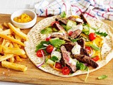 Middle Eastern beef and hummus wraps recipe