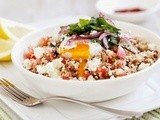 Persian eggs with lentils and couscous recipe