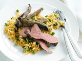 Persian lamb fillets with green pea and saffron rice recipe