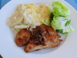 Potato Gratin And Chicken Escalope With Caramelized Onions