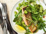 Rosemary's Mediterranean bean and pea salad with herbed salmon recipe