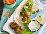 Sweet potato and pea falafel with yogurt and herb sauce recipe