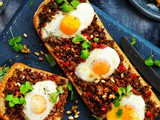 Turkish Bread with Spicy Lamb and Eggs