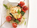 Vegetable kebabs with grilled haloumi, garlic yoghurt and lemon rice recipe