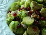 Brussels Sprouts Salad w Walnuts, Zataar & Pomegranate Seeds
