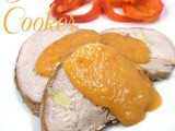 Slow Cooker Pork Roast with Roasted Pepper Onion Sauce