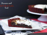Brownie and Red Velvet Cookie Tart with Cream Cheese Whipped Cream