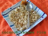 Cocunut sesame rice/Simple spicy vegetarian rice recipes for lunch/step by step pictures/Mahas own recipes