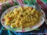 Mixed vegetable paneer pulav/Easy vegetarian rice recipes for lunch/step by step pictures