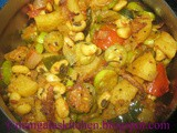 Healthy Kovakkai Karamani Urulai Masala Curry - Ivy gourd Potato Lobia Masala Stir fry in traditional South Indian Style - Diabetic recipes