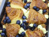 Blueberry and Cream Cheese Croissant Pudding