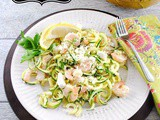 5 Ingredient Shrimp Salad with Zucchini Noodles, Lemon, Garlic, and Feta Cheese