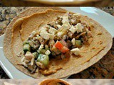 Chicken Wrap Sandwiches with Eggplant, Hummus, and Feta Cheese