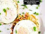 Fried Eggs with Carrot, Zucchini, and Potato Patties