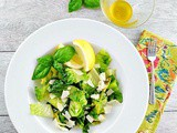 Grilled Romaine Salad with Lemon Vinaigrette, Basil and Parmesan Cheese