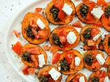 Healthy Appetizer – Greek Roasted Sweet Potato, Olive, Tomato, and Feta Cheese