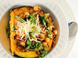 Italian Roasted Acorn Squash Stuffed with Pancetta, Mushrooms and Chickpeas