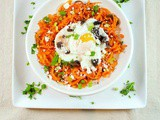 Mediterranean Sweet Potatoes and Poached Eggs