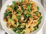 Orecchiette Pasta with Shrimp, Pineapple, Asparagus and a Spicy Asian Sauce