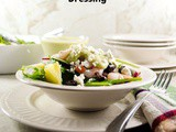 Shrimp Salad with Pineapple, Olives, Feta Cheese and Avocado Lime Dressing