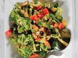 Thai Chopped Broccoli Salad with Bell Peppers, Cilantro and Peanut Sauce