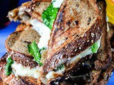 Grilled Cheese Spiced Potato Whole Grain Sandwich with Cheese Dip
