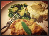 Breaded Pork Cutlets with Root Veg Smash and Sage Gravy with Sauteed Lemony Brussels Sprouts Plus mvk's *Like* of the Week