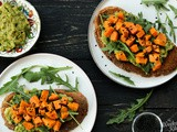Avocado Toast with roasted sweet potato topping