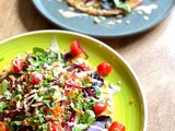 Socca with vegetable salad and tahini dressing