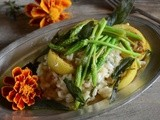 Wild asparagus risotto with lemon and sage..and pulling off the road
