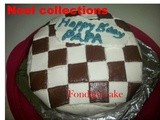 Checkerboard cake with fondant