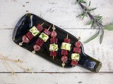 Beet and feta skewers