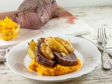 Roast beef with quince and pumpkin
