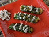 Pan-seared Spinach and Potato Cigars ( with a Sour cream dip )