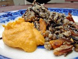 Wild rice & french lentils with roasted mushrooms & butternut squash with cauliflower and carrot puréee