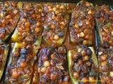 Baked Zucchini (courgette) halves with vegetables and chickpeas (garbanzo beans) -Nohutlu Kabak Dolmasi