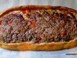 Kiymali Pide; Turkish Flat bread with ground meat and vegetables