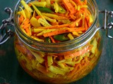 Fresh Turmeric Pickle-Kachi Haldi Ka Achar-Raw Turmeric Mango Ginger Pickle Recipe