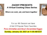 Zagny Virtual Cooking Class Series – a Set Of Popular Parsi Favorites