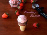Eggless Strawberry Ice-cream (Without Ice-cream Maker)