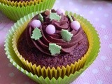 Cupcakes with cacao, cherries and chocolate ganache frosting