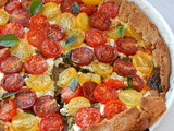 Kale Pesto Tart with Feta Cheese and Cherry Tomatoes