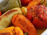 Τomatoes and peppers stuffed with bulgur and fennel