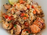 Oven baked salmon and shrimps with quinoa