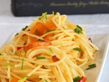 Spaghetti with Chilly Peppers, Lime and Trikalinos Bottarga