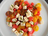 Watermelon and Cherry Tomatoes Salad with Feta Cheese