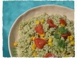 Cilantro-Mint Pesto with Pasta, Tomatoes and Sweet Corn